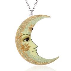 Women Fashion Printing Flower Moon Sun Pendant Necklace Sweater Chain Gift Moon