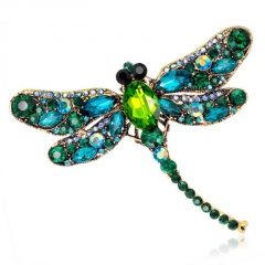 Vintage Crystal Dragonfly Necklace For Women Collar Pins Dragonfly Pendant Jewelry accessories enamel epacket drop shipping Green Dragonfly