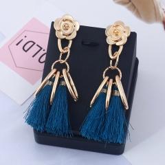 gold rose flower blue tassel dangle earrings jewelry wholesale blue