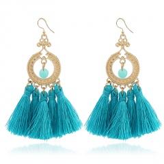 Ethnic style beads tassel earrings jewelry wholesale blue