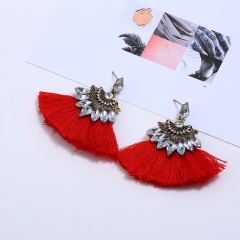 Charm tassel Red Crystal Earrings Dorp dangle red