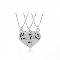 3pcs Set Necklace Letters Pendant  Lit sis/MOM/big sis Heart 1