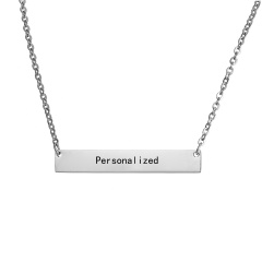 Stainless Steel Silver Personalized Name Bar Necklace Custom Engraved Jewelry Gifts Silver