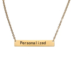 Stainless Steel Silver Personalized Name Bar Necklace Custom Engraved Jewelry Gifts Gold