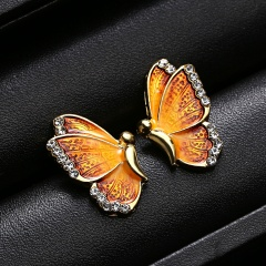 Fashion Colorful Butterfly Painting Oil Pendant Earrings Yellow
