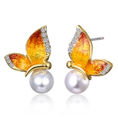 1 Pair Painting Oil Butterfly Pearl Earrings Jewelry Yellow