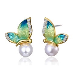 1 Pair Painting Oil Butterfly Pearl Earrings Jewelry Blue