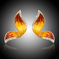 Women Crystal Rhinestone Pearl Butterfly Pendant Necklace Charm Jewelry Gift Earrings-Yellow