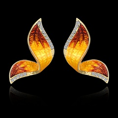 1 Pair Fashion Butterfly Wings Painted Oil Earrings Yellow