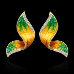 1 Pair Fashion Butterfly Wings Painted Oil Earrings Green