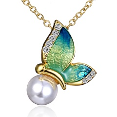 Charm Crystal Rhinestone Pearl Flying Butterfly Pendant Necklace Jewellery Gift Necklace