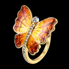 Women Charm Fashion Butterfly Rings Jewelry 7.5-Yellow