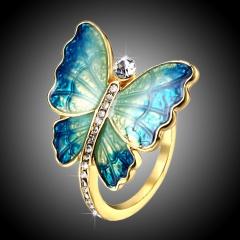 Women Charm Fashion Butterfly Rings Jewelry 7.5-Blue