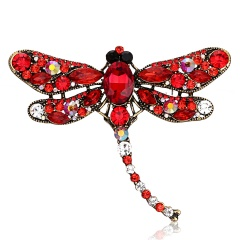 Vintage Crystal Dragonfly Brooches For Women Collar Pins Dragonfly Brooch Red Dragonfly