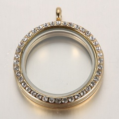 Round Living Memory Floating Charms Glass Locket Pendant Necklace Jewellery Hot Gold