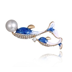 Fashion Crystal Brooch Pin Collor Jewelry dolphin