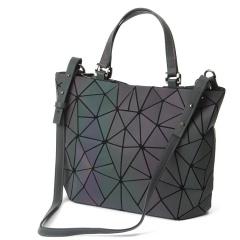 Geometric Laser Bag Portable Large Bag Ringer Bag Luminous Bucket Bag40*30*13cm colorful