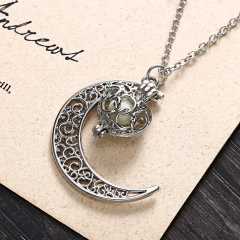 NEW Luminous Crystal Magic Moon Hollow Locket Glow In The Dark Pendant Necklace Moon