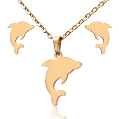 Fashion Jewelry Set Stainless Steel Womens Gold Pendant Necklace Earrings Gifts Dolphin