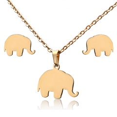 Stainless Steel Elephant Necklace Earrings Jewelry Set elephant