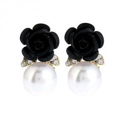 Rose Flower Pearl Earrings Jewelry Rose