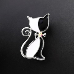 Fashion Red Black Cat Bowknot Crystal Rhinestone Brooches Pins Vintage Silver Gold Style Women Costume Jewelry Party Gift cat