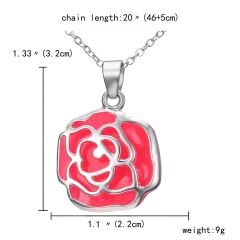 Magic Steampunk Rose Flower Glow in The Dark Pendant Necklace Womens Jewellery Gift Silver Orange light