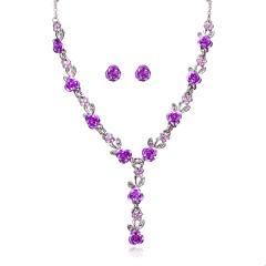 Fashion Metal Flower Shape Necklace Earring Jewelry Set Purple