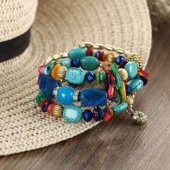 Rinhoo Boho Bohemia Natural Stones Balance Beaded Warp MultiLayers Beads Bracelet Bangle Gift Jewelry For Women Bracelet 1