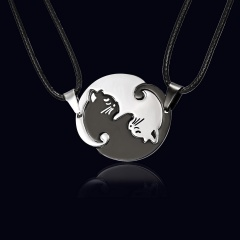 Fashion Cut Stainless Steel Cat Pendant Necklace Leather Chain Jewelry Black & White
