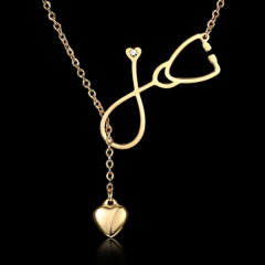 Women Laides Love Stethoscope Adjustable Necklace Pendant Stainless Steel Gold