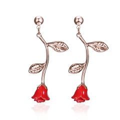Fashion Rose Flower Stud Earrings Women Jewelry rose