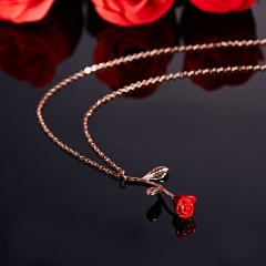 Lady Elegant rose necklace Valentine's Day Gift Party Wedding Red