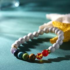Rinhoo 1PC Colorful Natural Stone Seven Chakras Beads Adjustable Elastic Rope Chain Bracelet Accessories Gift For Women Bracelet 1