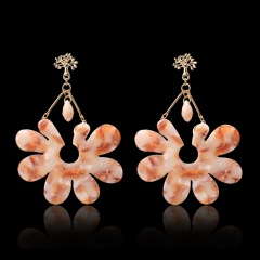 1 Pair Flower Acetate Earrings For Women Temperament Personality Fashion Jewelry Gold