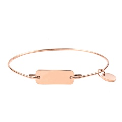 Stainless Steel Tag Engraved Bracelet Customized Bangle Women Gift Rose Gold