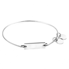 Rectangular Double Tag Engraved Stainless Steel Bracelet Bangle Customized Silver