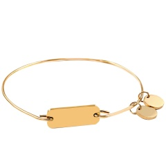 Fashion Tag Engraved Stainless Steel Bracelet Customized Bangle Gold