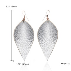 1 Pair Leaf Shape Simulation Leather Drop Earrings Jewelry Silver