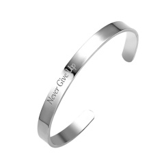 Never Give Up Stainless Steel Lettering Bracelet Bangle Gift Silver-Never Give Up