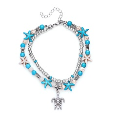 Rinhoo Bohemia Sea Turtle Starfish Charms Beach Anklet For Women Multilayer Beads Ankle Bracelet Handmade Leg bracelet Jewelry Anklet 1