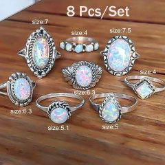 Retro Rings Crystal Finger Jewelry Set crystal