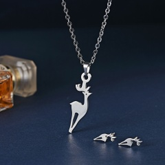Women Animal Stainless Steel Necklace Earrings Wedding Bridal Jewelry Set Gift Deer
