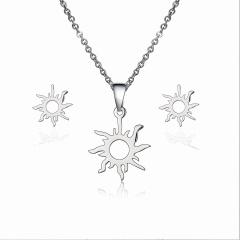 Lovely Heart Sun Stainless Steel Stud Earrings Necklace Set Charm Jewelry Gift Silver sun
