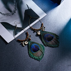 Water Drops Openwork Peacock Feather Ear Hook Earrings Peacock Feather