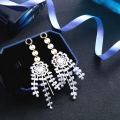 Flower Long Stud Earrings Handmade Women Gift Flower