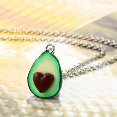 Women Avocado Love Heart Handmade Soft Clay Necklace Best Gift Love Heart