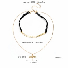 Fashion Double-layer Butterfly Choker Necklace Charm Chain Women Gift Dragonfly