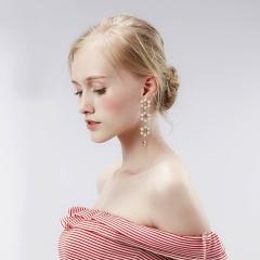 New Trendy Flower Tassel Long Earrings Light Pink
