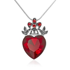 Valentine's Day Necklace Red Heart Crown Necklace Queen Womens Gift Crown
